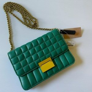 J. Crew Quilted Green Soft Leather Crossbody NWT